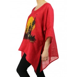 Red linen blouse hand-painted NP