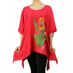 Hand-painted red viscose blouse