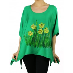 Green viscose blouse hand-painted Naturally Podlasek