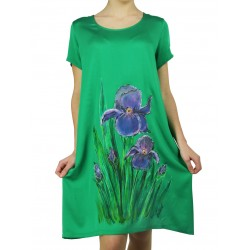 Short airy viscose dress, hand-painted Naturally Podlasek