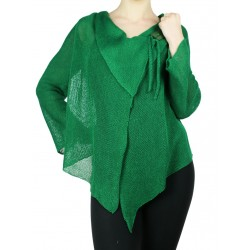 "Green linen sweater made on the ""Linen Island"" knitting machine"