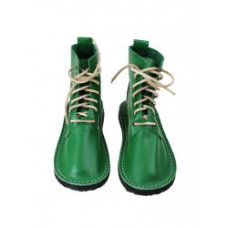 Green leather handmade shoes
