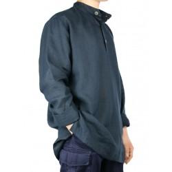 Loose linen shirt with stand-up collar Naturally Podlasek