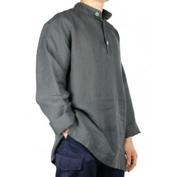 Loose linen shirt with stand-up collar Naturally Podlasek
