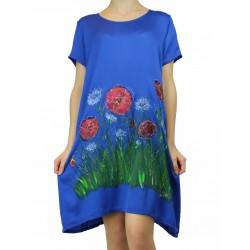 Short airy viscose dress, hand-painted Naturally Podlasek