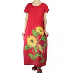 Red linen dress Naturally Podlasek
