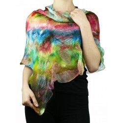 Women's silk poncho, felted with merino wool.