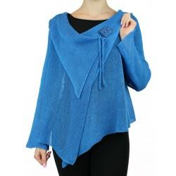 "Blue linen sweater made on the ""Linen Island"" knitting machine"