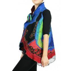 Reversible women's wool vest, hand-felted