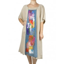 Hand-painted loose linen dress