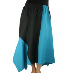 Linen asymmetrical midi skirt, made of pieces of black-turquoise fabric.
