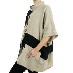 Loose linen jacket Natural Podlasek