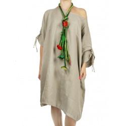 Sukienka lniana z regulowanym rękawem NP