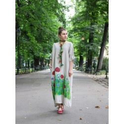 Oversize dress made of natural linen, with adjustable sleeves, hand-painted