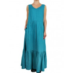 Long linen dress with flounces in turquoise NP