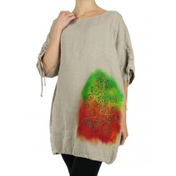 Linen oversize blouse hand...