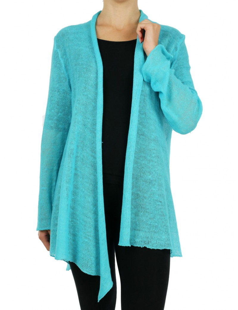 """Linen cardigan sweater made by the """"Linen Island"""" studio"""
