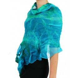 Gently felted silk poncho NP