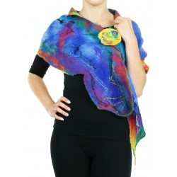 Original silk scarf, felted with delicate silk & wool merino wool