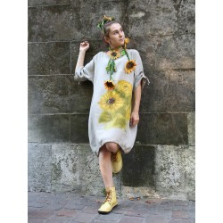 Hand-painted linen oversize NP dress with adjustable sleeves