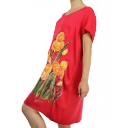 Short airy viscose dress, hand-painted NP