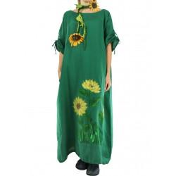 Green linen dress oversize NP