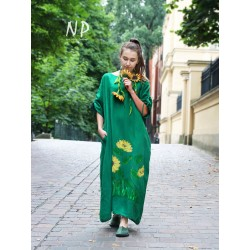 Green linen oversize dress with adjustable sleeves, hand-painted