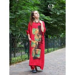 Red linen dress oversize NP