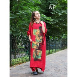 Hand painted red linen dress with adjustable sleeves