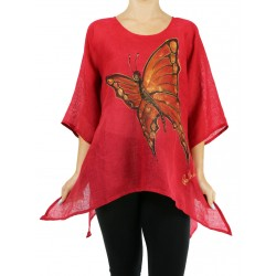 Red linen blouse for the summer NP