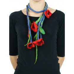 Felted long necklace in the form of a Silk & Wool twig