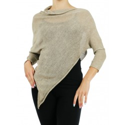 Poncho with sleeves made of linen knit, NP