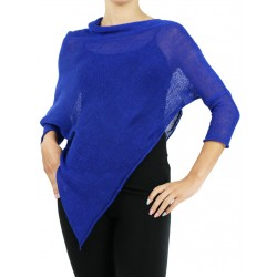 Blue poncho with sleeves made of linen knit NP
