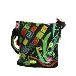 Medium-sized wet-felted wool bag