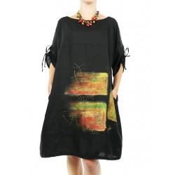 Black oversize dress, hand painted