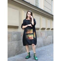Hand-painted black linen oversize dress NP