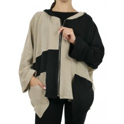 Zipped linen jacket with a large hood NP