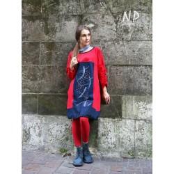 Denim dress with a round neckline NP