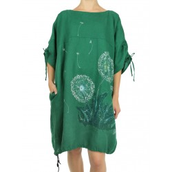 Hand-painted green linen oversize NP dress with adjustable sleeves