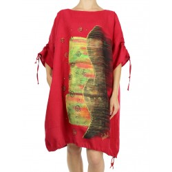Hand-painted red linen oversize dress