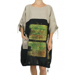 Hand-painted two-color linen oversize NP dress with adjustable sleeves