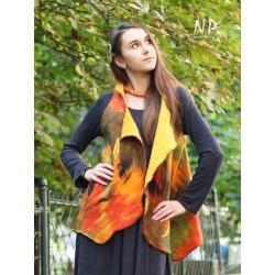 Women's autumn vest made of felted silk.