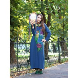 Blue long knitted dress Naturally Podlasek