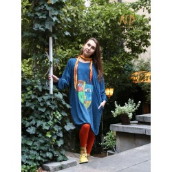 Hand-painted knitted oversize dress NP