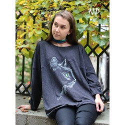 Gray knitted blouse, hand-painted Naturally Podlasek
