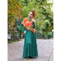 Boho green dress made of warm fabric