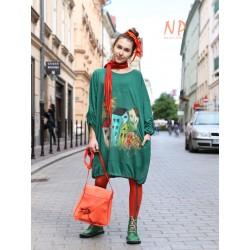 Green short loose knitted dress NP