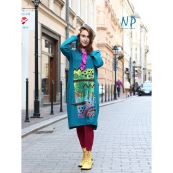 Cotton dress with a hood, hand painted NP