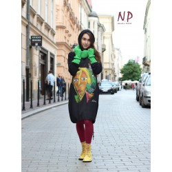 Black cotton dress with a hood, hand-painted NP
