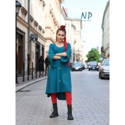 Flared dress made of knitted cotton in a sea color NP